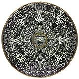 Aztec Mayan Sun Calendar Wooden Shield Wall Art Plaque Handmade Solar Relief