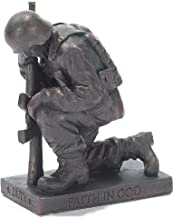 Dicksons Duty Faith God Praying Soldier 5 inch Gray Resin Stone Table Top Figurine
