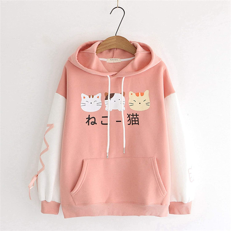 Women Pullover Hoodies Kawaii Cartoon Cat Pattern Sweatshirts Girls Drawstring Winter Warm Loose Comfy Blouse Jumper