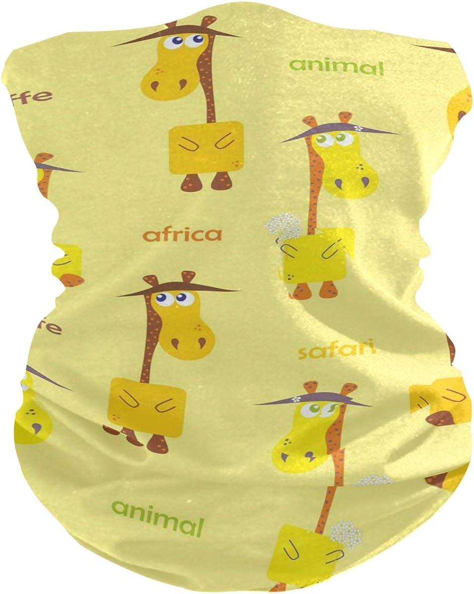 Face Mask Bandana Balaclava Neck Gaiter for Women Men, Giraffe Deer Face Sun Dust Mask Magic Scarf Headwear for Running Fishing Outdoor
