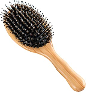 Wild Boar Bristle Hairbrush with Waxed Olive Wood Handle for Styling, Smoothing, Detangling Thick, Thin, Straight, Curly, Wavy, Dry, Damaged Hair to Women, Men, Kids, Giftbox Included