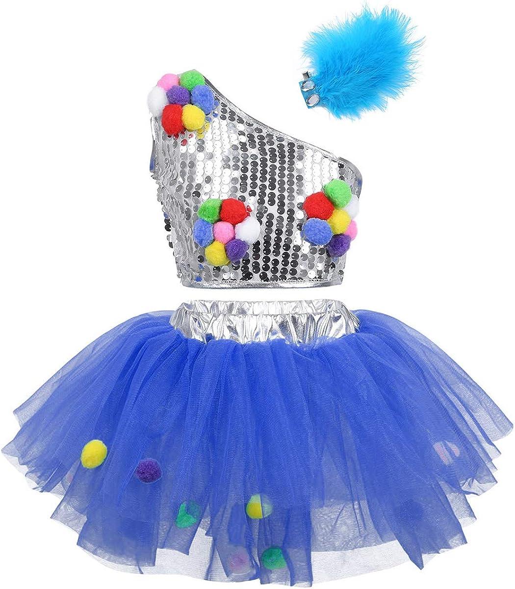 iiniim Kids Girls Daily Purchase bargain sale 3PCs One Shoulder Ballet P Dance Sequins Dress