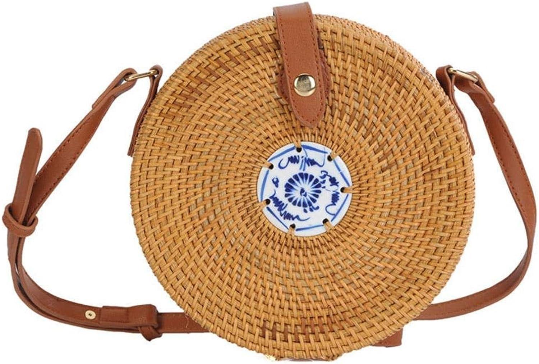 Tuankay Vintage Women Round Straw Shoulder Bags Circle Rattan Beach Messenger Bags