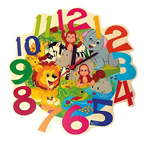 Hess Holzspielzeug 30011 - Horloge murale en bois pour enfants, série animaux de la jungle, avec horloge à quartz, fabriquée à la main, indicateur de temps coloré pour la chambre d'enfant