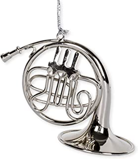 Silver French Horn Music Instrument Replica Christmas Ornament, Size 4 inch
