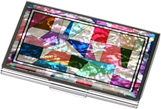Mother of Pearl RFID Blocking Protection Patchwork Design Business Credit Name Id Card Holder Case Metal Stainless Steel Engraved Slim Purse Pocket Cash Money Wallet with Patchwork Design