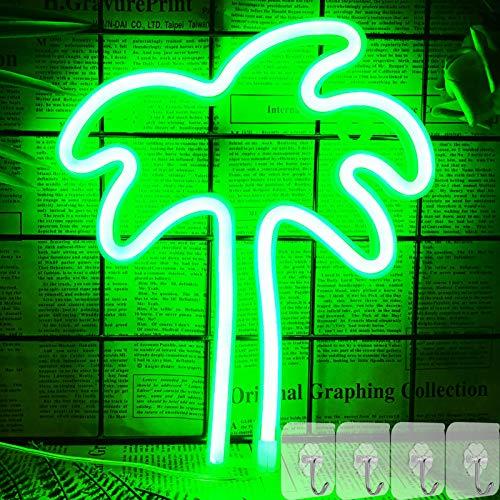 YIVIYAR Palme Leuchtreklame mit 4 Haken, Grün Hängendes LED-Neonlichtschild für Schlafzimmer Wanddekoration Batterie/USB-betriebenes Neonlicht für Hausbar Weihnachtskinder Kindergeschenke (Palm Tree)