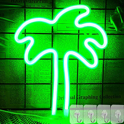 YIVIYAR Coconut Palm Tree Neon Signs with 4 Hooks, Green Hanging LED Neon Light Sign for Bedroom Wall Decor Battery/USB Operated Neon Light for Home Bar Christmas Children Kids Gifts (Palm Tree)