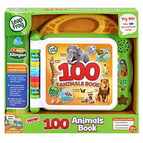 LeapFrog 100 Animals Book, Baby Book with Sounds and Colours for Sensory Play, Educational Toy for Kids, Preschool Toys, Bilingual Learning Games for Boys and Girls Aged 18 Months, 1, 2, 3 Years