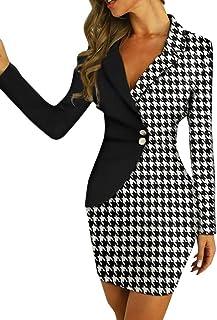 SODIAL Abito Da Donna Elegante Abito Doppio Petto Abito Blazer Ufficio Slim Ladies Ol Abiti Solid V Colletto Manica Lunga Aderente Abito Femminile Vestito Bianco S