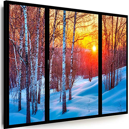 Myartstyle - Bilder Fensterblick 150 x 100 cm Leinwandbilder XXL - 1 Teilige Wandbilder Kunstdrucke Fenster Birken Winterwald w-P4-215
