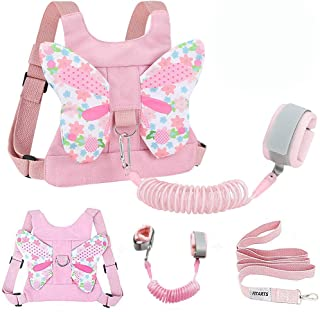Toddlers Leash + Anti Lost Wrist Link Child Kids Safety Harness Kids Walking Wristband Assistant Strap Belt for Girl Pink ...