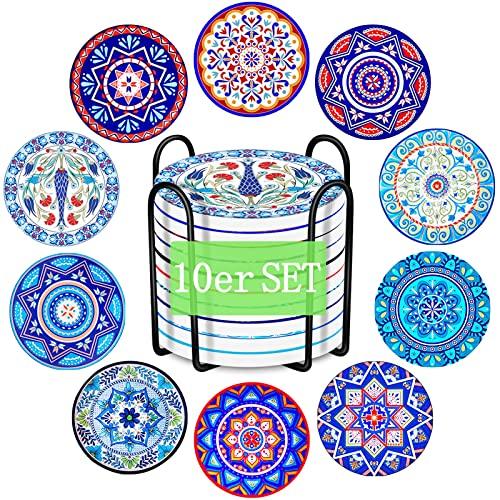JOYBOY Sottobicchieri in Ceramica,Set di 10 Sottobicchieri per Bevande con Supporto,Sottobicchieri in Ceramica Assorbente,Antiscivolo,Facile da Pulire,Regalo Grazioso per Amici e Parenti