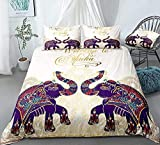 Bdhnmx Duvet Cover Set 3 Pcs 3D Printed Floral Elephants Bedding Set with Zipper Closure Supersoft Lightweight Microfiber Cotton-Super King Size 220x260cm
