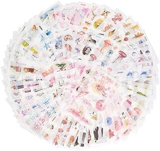 TIMESETL 72枚 手帳シール かわいい おしゃれ 和紙 ステッカー 植物 花など多種類 スケジュール/ギフト/手帳用シール