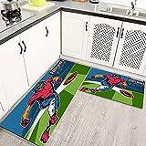 Alfombras Cocina Goma Alfombra de Baño Ducha 2PCS Jugador de fútbol Americano Retro disparando una Pelota alfombras de Cocina Antideslizantes Lavables