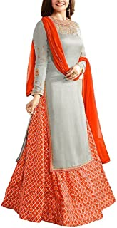 Ethnic Empire Women's Japan Crepe Anarkali Wedding Semi Stitched Anarkali Salwar Suits (DIV_FlexER11041_Gray_Free Size)