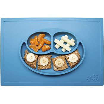ezpz Happy Mat (Blue) - 100% Silicone Suction Plate with Built-in Placemat for Toddlers + Preschoolers - Divided Plate - Dishwasher Safe