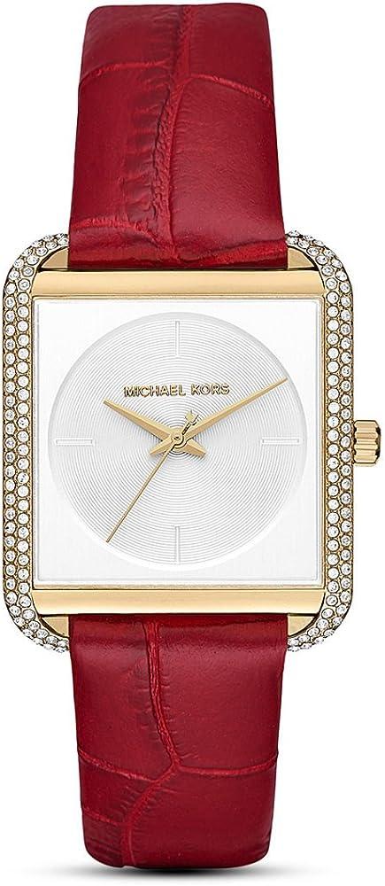 Michael kors, orologio per donna,cassa in acciaio con finitura lucida,e cinturino in pelle MK2623