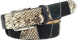 ESPERANTO Cintura uomo donna in Pitone, Coccodrillo e scamosciato, colore Blu, fodera vera pelle di cuoio nabuck-4 cm con ...