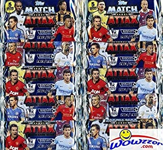2013/2014 Topps Match Attax Premier League Soccer lot of TEN Factory Sealed Foil Packs ! Includes 50 Cards of all the Top Stars of Barclays Premier League! Imported from England!