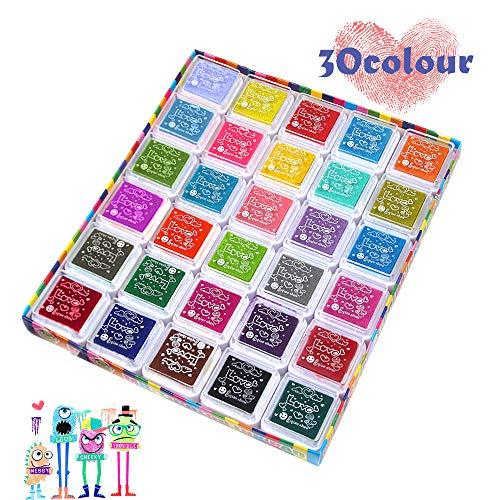 30 Colores Lavable Almohadillas de Tinta Para Niños no tóxica Arco Iris Color de Huellas Dactilares para Goma, Manualidades, Sellos, Tarjetas, Niños DIY Scrapbooking,arcoíris y decoración de Bodas