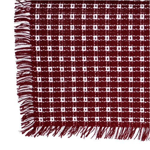 62 x 90 (Rectangle) Homespun Tablecloth, Hand Loomed, 100% Cotton, Cranberry/White
