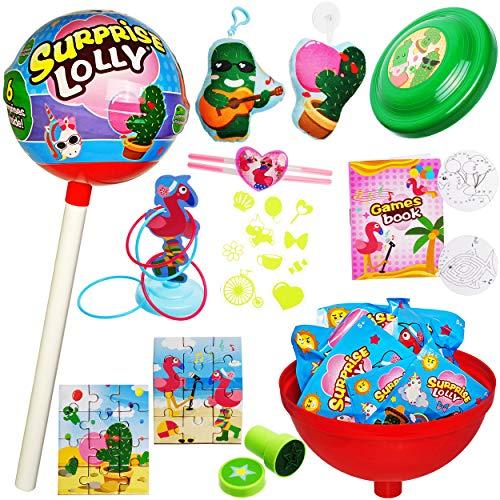 alles-meine.de GmbH rießiger XXL Lolli - 60 cm - gefüllt mit vielen Wundertüten & Überraschungstüten - Geschenkset / Überraschungspaket - Lolly Bonbon Mädchen & Jungen - Überrasc..