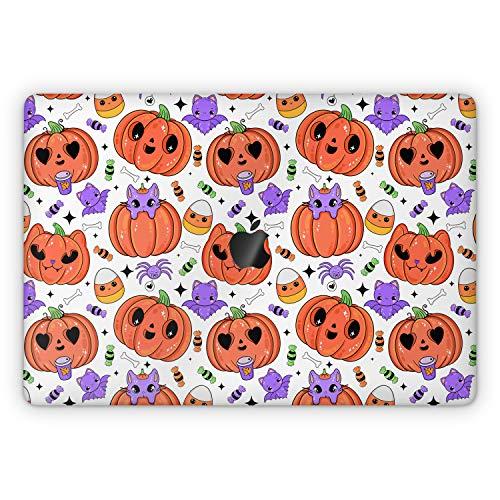 Lex Altern Skin Decal for Apple MacBook Pro 13 2020 Air Mac 16 2019 15 inch Retina 2018 2017 12 11 Top Cute Pumpkin Halloween Cartoon Touch Bar Full Body Vinyl Laptop Kawaii Cover Cat Bat Wrap mch012