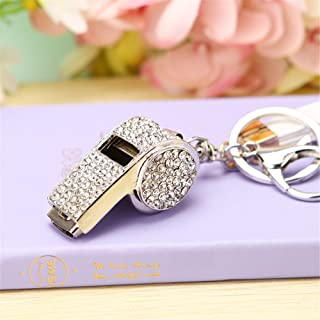 Whistle Keyring High Grade Rhinestone Crystal Pendant Key Chain Gift(Silver)