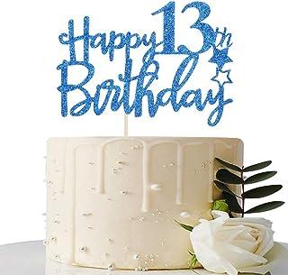 Royal Blue Glitter Happy 13th Birthday Cake Topper - 13 Cake Topper - 13th Birthday Party Supplies - 13th Birthday Party D...