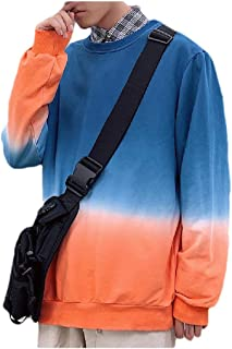 MogogoMen Plus-Size Original Fit Gradients Blouse Long-Sleeve Sweatshirt
