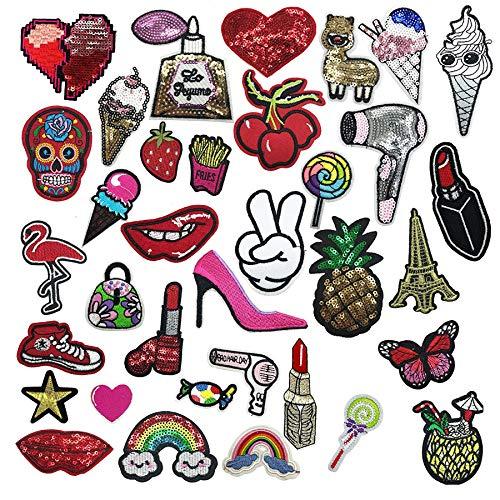 Patch Sticker, Woohome 35 Pz Parche Termoadhesivo, Estilo Surtido Parche de Hierro en Parches para Ropa, Mochila, Gorras, Repara El Palo de Agujero