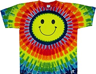 Tie Dyed Shop Rainbow Tie Dye Smiley Face T Shirt - Mens Womens Teens Plus Sizes
