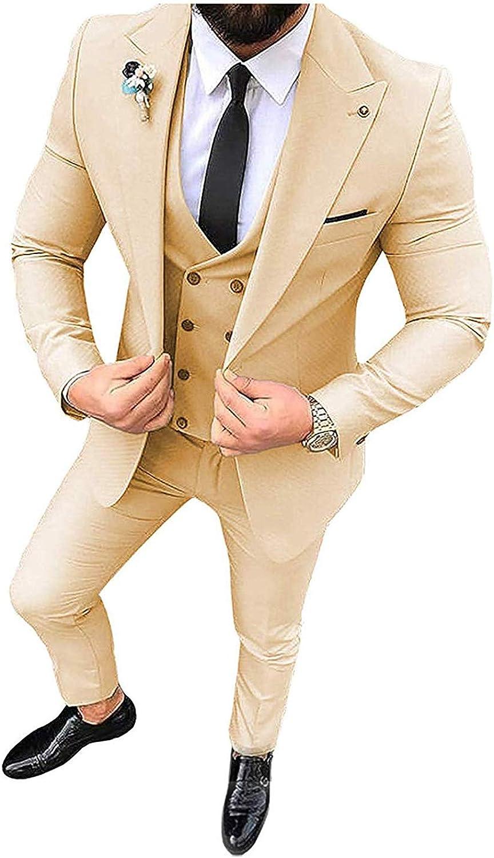 Wemaliyzd Men's 3 Pieces Business Suit 1 Button Double Breasted Vest Pants