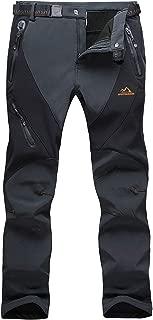 BIYLACLESEN Men's Winter Pants Windproof Fleece-Lined Softshell Hiking Snowboard Pants