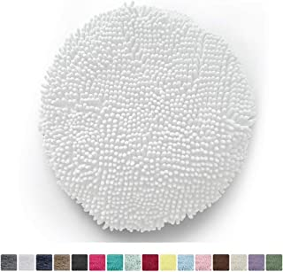 KANGAROO Plush Luxury Chenille Bath Rug Toilet Lid Cover, 19.5 Inch x 18.5 Inch Large Size, Extra Soft and Absorbent Kids Shaggy Seat Covers, Washable, Fits Most Bathroom Toilet Lids, White