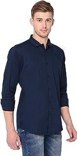 Garmend Mens Pure Cotton Casual Shirt Men Full Sleeves Fashion Multi Color (Navy Blue, Medium)