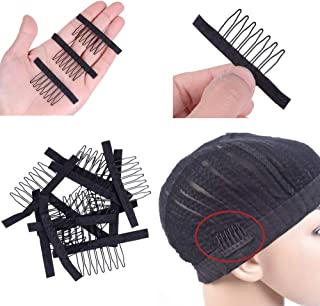 Wig Combs for Making Wigs 7-Teeth Stainless Steel Wig Hair Clips Long Wig Combs to Sew in, Wig Clips For Hair Extension St...