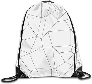 Bolsas de cuerdas Mochila de Cuerdas Patrón minimalista geométrico simple en blanco y negro para picnic, gimnasio, deporte...