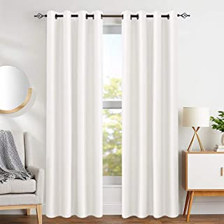 Faux Silk White Curtains for Bedroom 84 inch Length Dupioni Window Curtain Panels for Living Room Satin Drapes Light Reducing Window Treatment Set, Grommet Top, 2 Panels