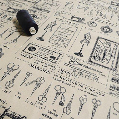 Estilo Vintage diseño de patrones de costura para algodón tela estampada - French escribir y tijeras diseño de iconos crema Azul Marino - se vende por metro