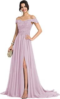 Off Shoulder Beaded Prom Dress Long Chiffon Lace Appliques Wedding Evening Party Gown with Split HED002