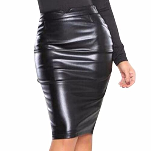 Womens Ladies Wet Look Plain Stretch Bodycon Midi Mini Wiggle Pencil skirt Tube