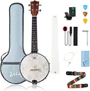 Mulucky 4 String Banjo Ukulele Concert 23 Inch Remo Drumhead Beginner Kit With Beginner Kit Truss Rod Gig Bag Tuner String...