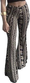 Sentao Women's Bohemian Style High Waist Flared Trousers Pattern Print Bootcut Pants