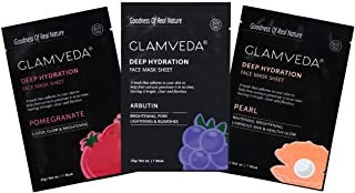 Glamveda Unisex Real Nature Brightening Sheet Mask Combo Pack - Pack Of 3(Arbutin + Pearl + Pomegranate)
