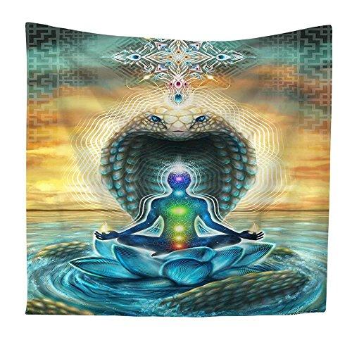 Wandtapijten, 7 Chakras Yoga Op Slang, Boheemse Indiase Trippy Hippie Psychedelische Gotische Spirituele Moderne Print Stof,Grote Maat Art Decoratieve Doek Voor Woonkamer Slaapkamer 150 × 130 cm