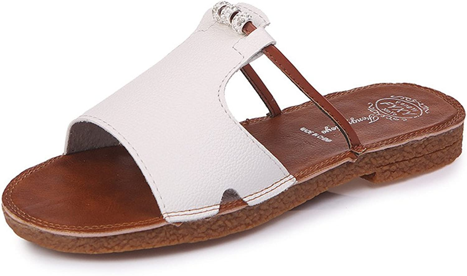 Flat Feet Do Not Tired Feet Pregnant Women Drag The Word Flip-Flops Casual shoes (color   White, Size   38)