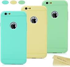 Mavis's Diary Funda de iPhone 6, 6s Carcasa Silicona Gel, TPU Ultra Slim Bumper Shock-Absorción y Anti-Arañazos, Paquete de 3, Verde menta + Amarillo + Verde